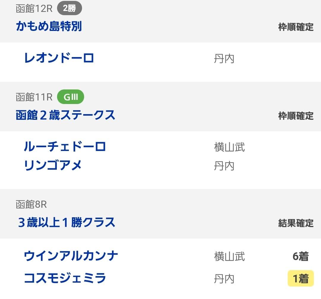 函館競馬 結果