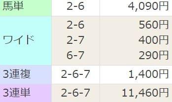 競馬予想サイト「にのまえ」の無料予想を検証3レース目結果